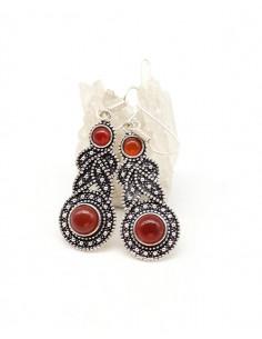 Boucles d'oreilles argentées ethniques et cornaline - Mosaik