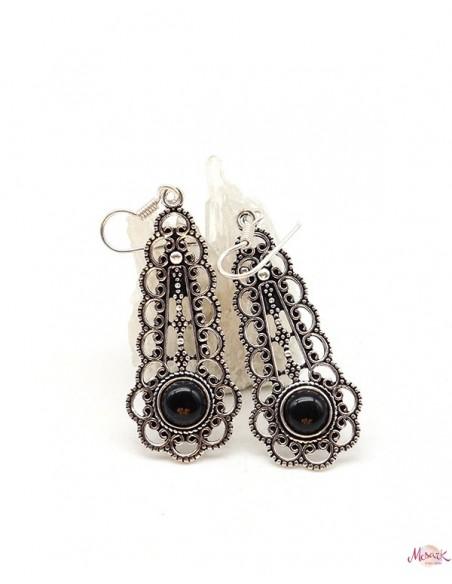 Boucles d'oreilles ethniques et onyx - Mosaik bijoux indiens