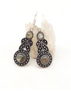 Boucles d'oreilles ethniques et labradorite - Mosaik bijoux indiens
