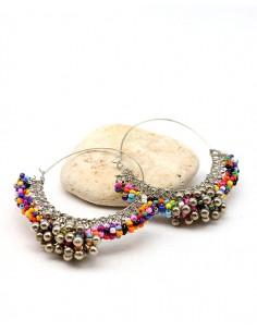 Créoles argentées colorées - Mosaik bijoux indiens