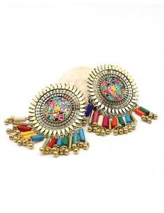 Clous d'oreilles ethniques colorées à pampilles - Mosaik bijoux indiens