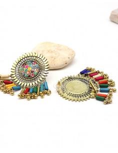 Clous d'oreilles ethniques colorées à pampilles - Mosaik bijoux indiens 2