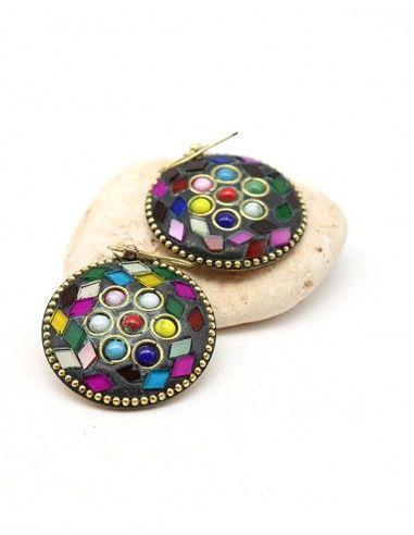 Boucles d'oreilles rondes colorées - Mosaik bijoux indiens