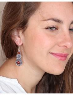 Boucles d'oreilles argentées ethniques et cornaline - Mosaik 2