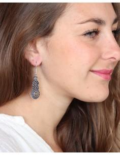 Boucles d'oreilles ethniques et labradorite - Mosaik bijoux indiens 2