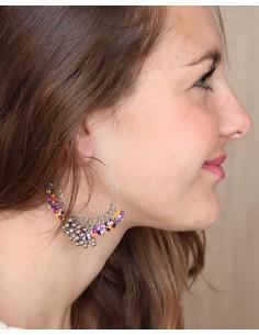 Créoles argentées colorées - Mosaik bijoux indiens 2