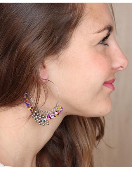 Créoles ethniques colorées à perles - Mosaik bijoux indiens