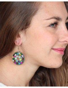 Boucles d'oreilles rondes colorées - Mosaik bijoux indiens 2