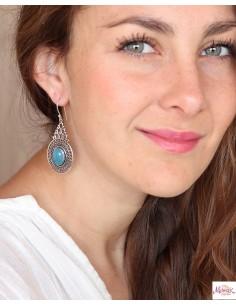 Boucles d'oreilles travaillées ethniques et agate bleue - Mosaik bijoux indiens 2