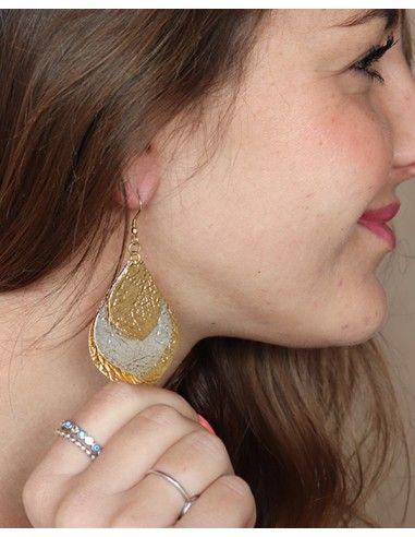 Boucles d'oreilles feuilles dorées et argentées - Mosaik bijoux indiens