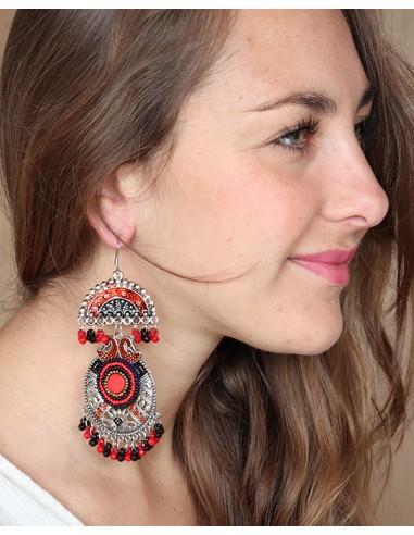 Boucles d'oreilles ethniques à grelots rouges et noires - Mosaik bijoux indiens