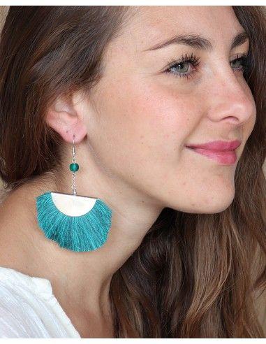 Boucles d'oreilles pompons bleues pendantes - Mosaik bijoux indiens