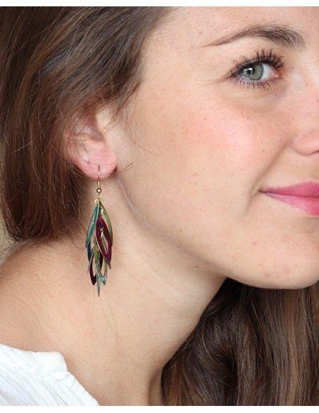 Boucles d'oreilles colorées artisanales - Mosaik bijoux indiens