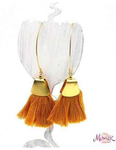 Boucles d'oreilles dorées et pompon jaune - Mosaik bijoux indiens