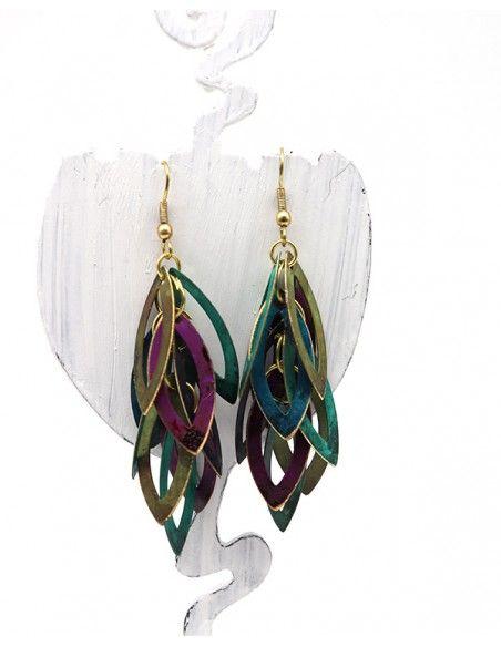 Boucles d'oreilles pendantes grappe - Mosaik bijoux indiens