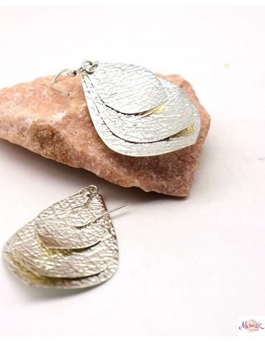 Boucles d'oreilles feuilles argentées - Mosaik bijoux indiens