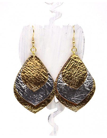 Boucles d'oreilles argentées et dorées - Mosaik bijoux indiens