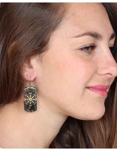 Boucles d'oreilles noires artisanales - Mosaik bijoux indiens