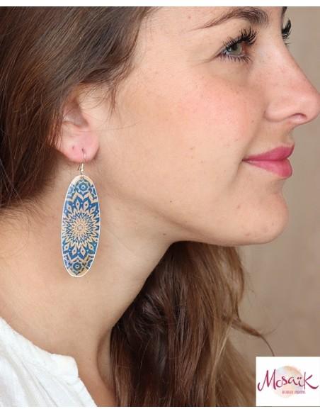 Boucles d'oreilles pendantes bleues - Mosaik bijoux indiens