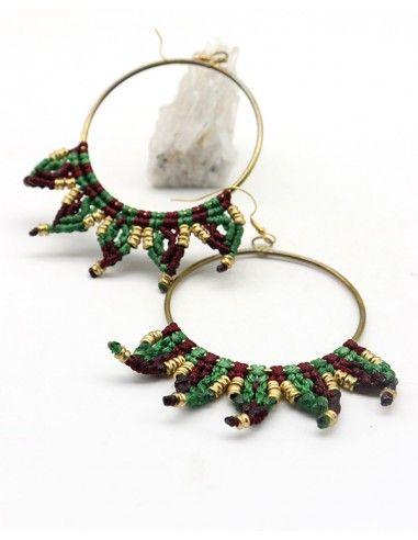 Boucles d'oreilles macramé rondes vertes - Mosaik bijoux indiens
