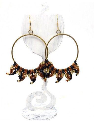 Boucles d'oreilles rondes macramé - Mosaik bijoux indiens
