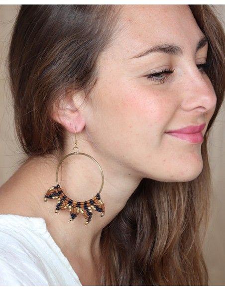 Boucles d'oreilles macramé rondes - Mosaik bijoux indiens
