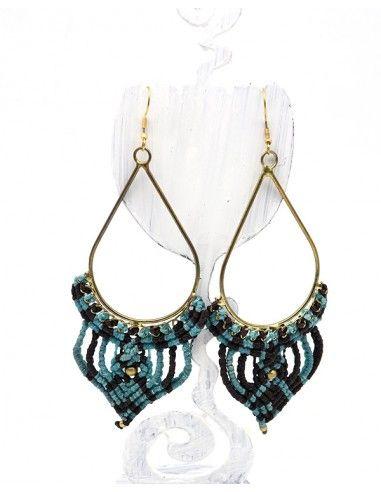 Boucles d'oreilles macramé dorées et bleues - Mosaik bijoux indiens