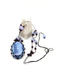 Collier opale bleue naturelle - Mosaik bijoux indiens