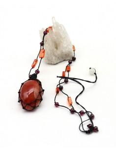 Collier fil de coton et cornaline - Mosaik bijoux indiens