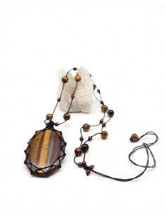Collier en Oeil de tigre monté sur fil de coton - Mosaik bijoux indiens