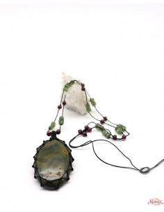 Collier en Jaspe sur fil de coton - Mosaik bijoux indiens
