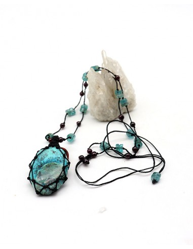 Collier en Chrysocolle bleue sur fil de coton - Mosaik bijoux indiens