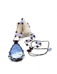 Collier en opale bleue monté sur fil de coton - Mosaik bijoux indien