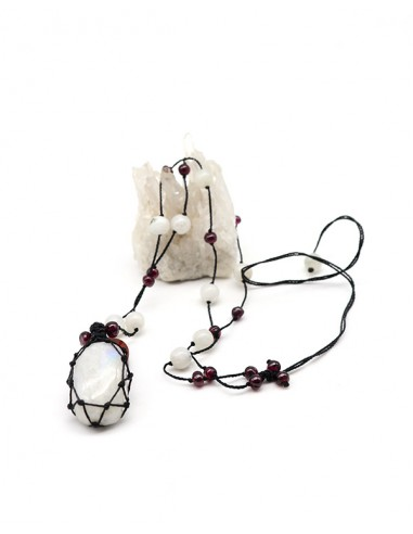 Collier fil de coton et Pierre de lune - Mosaik bijoux indiens