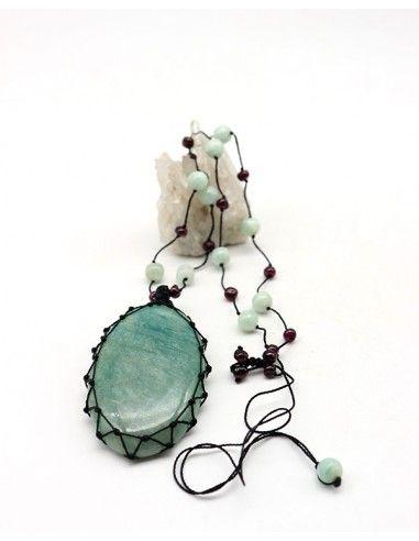 Collier fil de coton noir et Amazonite - Mosaik bijoux indiens