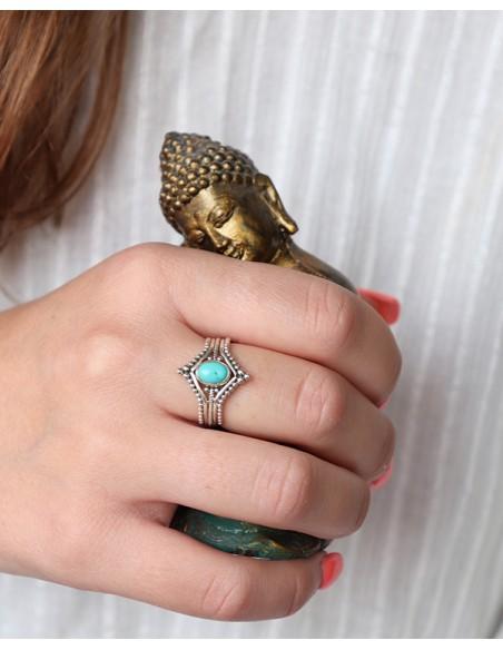 Bague argent bohème et turquoise - Mosaik bijoux indiens