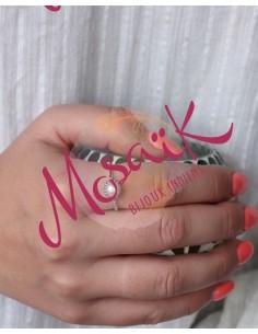 Bague fine argent et perle blanche - Mosaik bijoux indiens 2