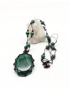 Malachite naturelle sur fil de coton - Mosaik bijoux indiens
