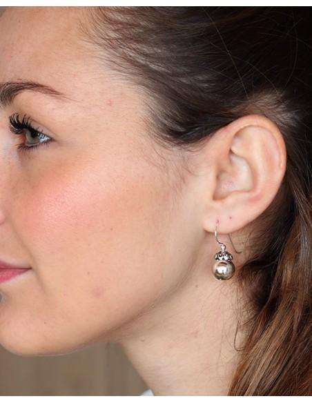 Boucles d'oreilles argent fines à boules ethniques