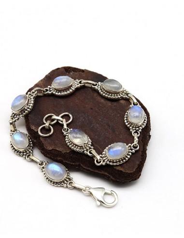 Bracelet argent ethnique et pierre de lune - Mosaik bijoux indiens