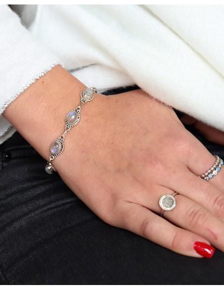 Bracelet argent et pierres de lune - Mosaik bijoux indiens