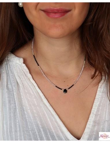 Collier fin argent pierre de lune et onyx - Mosaik bijoux indiens