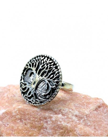 Bague arbre de vie argent ronde travaillée - Mosaik bijoux indiens