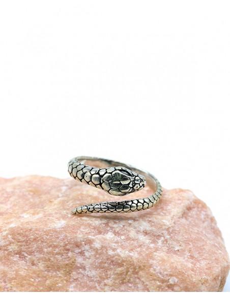 Bague serpent écaille en argent - Mosaik bijoux indiens