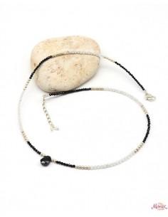 Collier pierre de lune et onyx en argent - Mosaik bijoux indiens