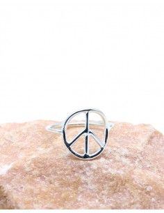 Bague peace and love en argent lisse