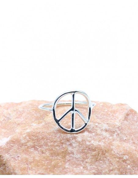 Bague peace and love en argent lisse - Mosaik bijoux indiens