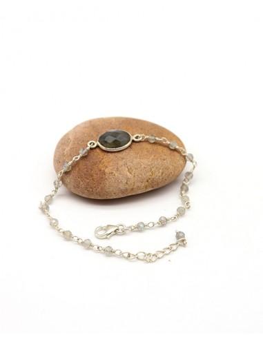 Bracelet en argent fin et labradorite ronde - Mosaik  bijoux indiens