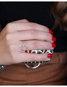 Bague peace and love en argent lisse 2