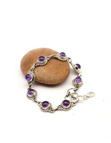 Bracelet argent ethnique et améthystes rondes - Mosaik bijoux indiens